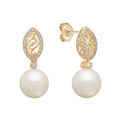 9mm Cultured South Sea Pearl and Diamond Earrings