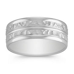14k White Gold Comfort Fit Ring with Hammered Finish (8mm)