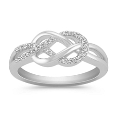Diamond and Sterling Silver Knot Ring
