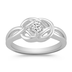Diamond Sterling Silver Twist Ring