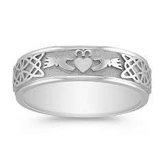 14k White Gold Claddagh Ring for Men