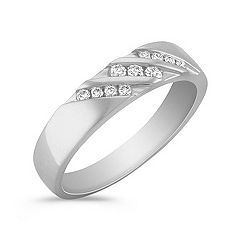 Round Diamond Men's Ring with Channel Setting