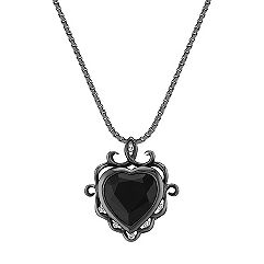 Heart-Shaped Black Sapphire and Round Diamond Pendant with Black Rhodium (18)