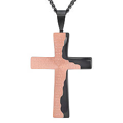 Stainless Steel Cross with Rose and Black Ionic Plating (24)
