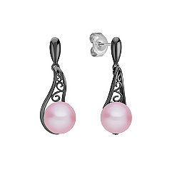 7mm Lavender Cultured Freshwater Pearl Earrings with Black Rhodium