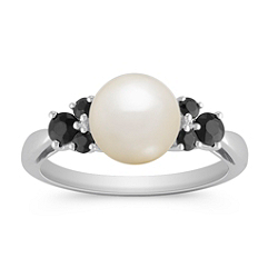 8mm Cultured Freshwater Pearl and Black Sapphire Ring