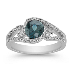 Round Blue Green Sapphire and Diamond Ring