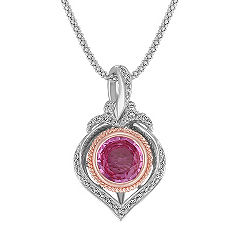 Pink Sapphire and Diamond Pendant in 14k Rose and White Gold (22 in.)