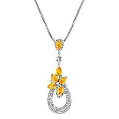 Pear Shaped Orange Sapphire, Calla Cut and Round Diamond Pendant (22 in.)