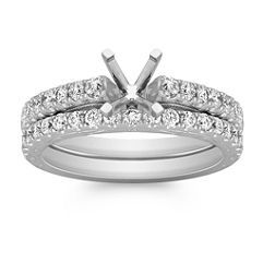 Vintage Diamond Wedding Set with Pavé Setting