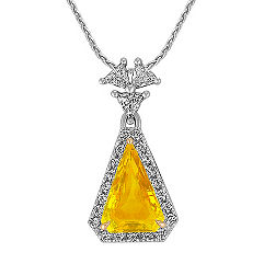 Trillion Yellow Sapphire and Trillion Diamond and Round Diamond Pendant (18 in.)
