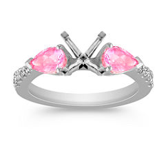 Pear Shaped Pink Sapphire and Diamond Three-Stone Engagement Ring