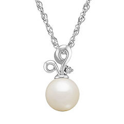 8.5mm Cultured Freshwater Pearl and Diamond Sterling Silver Pendant (18 in.)