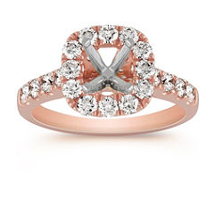 Halo Diamond Engagement Ring in 14k Rose Gold