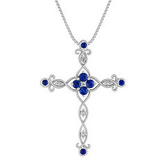 Round Sapphire, Princess Cut and Round Diamond Cross Pendant (18 in.)