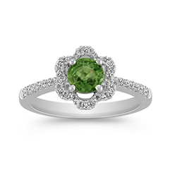Green Sapphire and Diamond Flower Ring