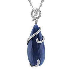 Pear Shaped Cabochon Sapphire and Diamond Pendant (18 in.)