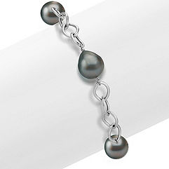 10mm Cultured Tahitian Pearl Bracelet in Sterling Silver (8)