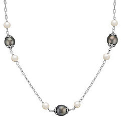 10mm Cultured Tahitian Pearl and 6mm Cultured Freshwater Pearl Necklace in Sterling Silver (18 in.)