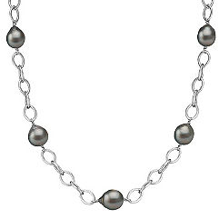 9mm Cultured Tahitian Pearl and Sterling Silver Link Necklace (20)