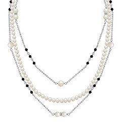 3.5-6mm Cultured Freshwater Pearl and Black Agate Necklace in Sterling Silver (22 in.)
