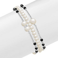 3.5-6mm Cultured Freshwater Pearl and Black Agate Bracelet in Sterling Silver (7.5)