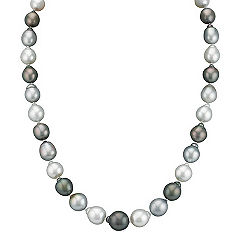 9-12mm Cultured Tahitian and South Sea Pearl Necklace in Sterling Silver (23)