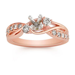 Swirl Diamond Fashion Ring in Rose Gold