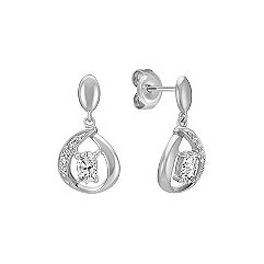 Oval White Sapphire and Round Diamond Dangle Earrings in Sterling Silver