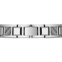 Stainless Steel Bracelet with Tungsten and Carbon Fiber Accents (8.5)