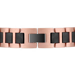 Stainless Steel Bracelet with Rose and Black Ionic Plating (8.5)