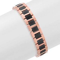 Stainless Steel Bracelet with Rose and Black Ionic Plating (8.5 in.)