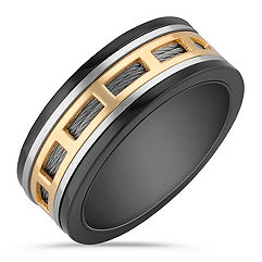 Stainless Steel Men's Ring with Black and Gold Ionic Plating (10mm)