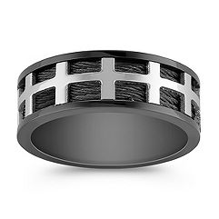 Stainless Steel Ring with Black Ionic Plating (8mm)