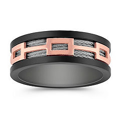 Stainless Steel Men's Ring with Black and Rose Ionic Plating (8mm)