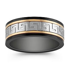 Stainless Steel Ring with Black and Gold Ionic Plating (8mm)