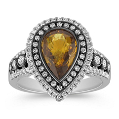 Pear Shaped Cognac Sapphire and Diamond Ring with Black Rhodium