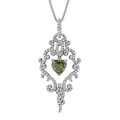 Heart-Shaped Green Sapphire and Round Diamond Pendant (18 in.)