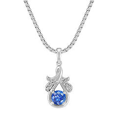 Kentucky Blue Sapphire and Diamond Pendant in Sterling Silver (18 in.)