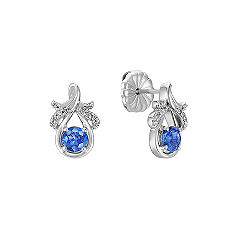 Kentucky Blue Sapphire and Diamond Earrings in Sterling Silver