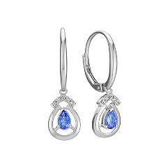 Pear Shaped Kentucky Blue Sapphire and Diamond Leverback Earrings in Sterling Silver
