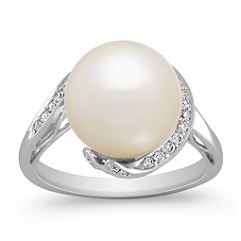 11mm Cultured South Sea Pearl and Round Diamond Ring