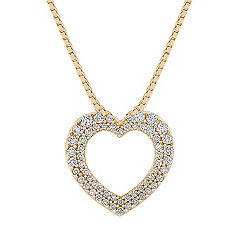 Round Diamond Heart Pendant with Pavé Setting (18 in.)