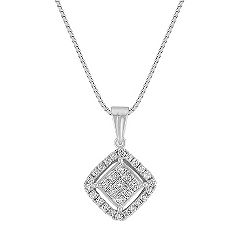Princess Cut and Round Diamond Cluster Pendant (18)