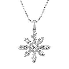 Flower Diamond Pendant in Sterling Silver (18 in.)