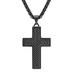Stainless Steel Cross Necklace with Black Carbon Fiber Accents (24 in.)
