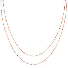14k Rose Gold Wheat Chain with Stations