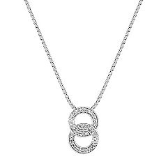 Round Diamond Double Circle Pendant in Sterling Silver (18 in.)