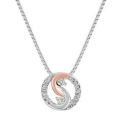 Diamond Circle Pendant in Sterling Silver and Rose Gold (18 in.)