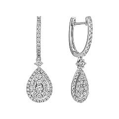 Dangle Diamond Cluster Earrings